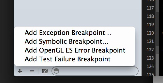 the plus button for adding a breakpoint